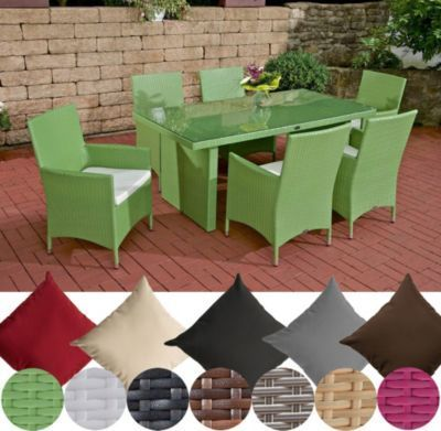 Poly-Rattan Sitzgruppe AVIGNON (6 x Polyrattan Stuhl Julia + Tisch