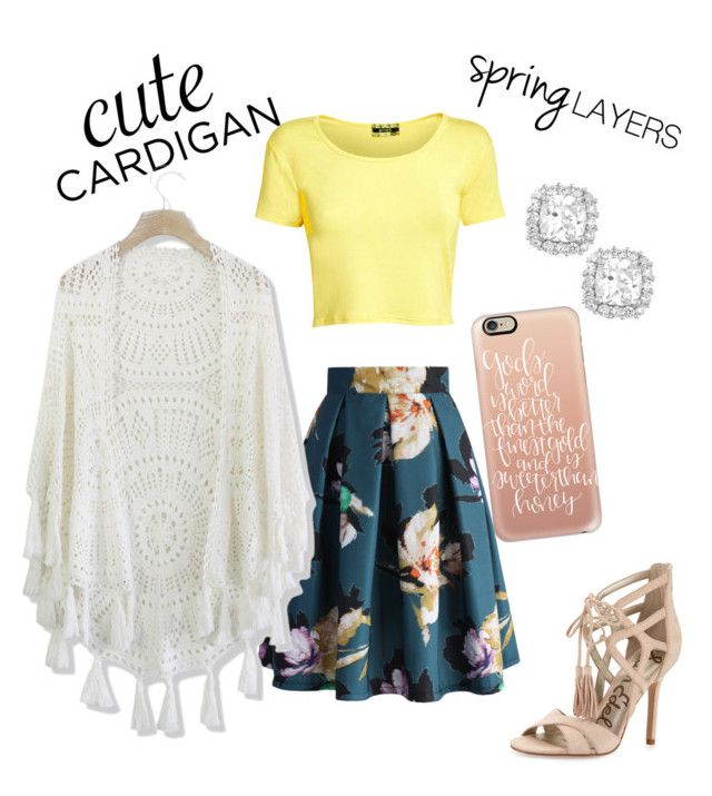 """Spring Cardigan"" by lydiaegibson ❤ liked on Polyvore featuring Sam Edelman, La Preciosa, Chicwish, Pilot, Casetify, cutecardigan and springlayers"