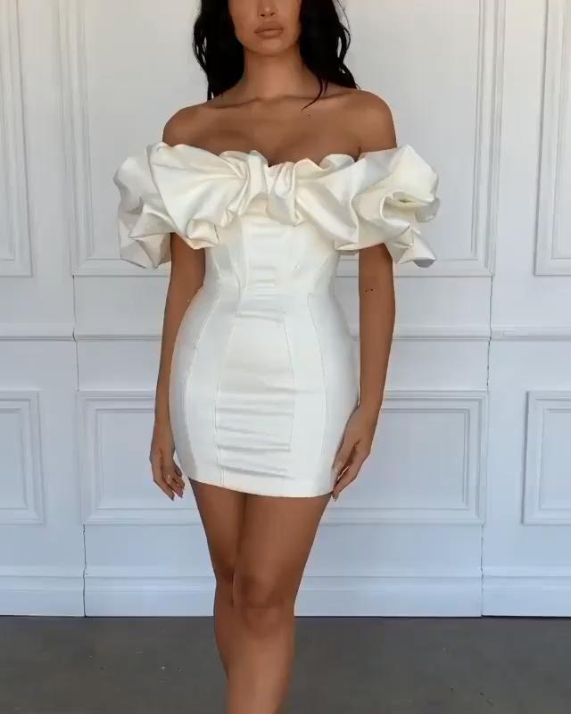 Photo of Satin Ruffles Sleeve 2020 Summer Dress Backless Strapless Bodycon White Dress Short Sexy