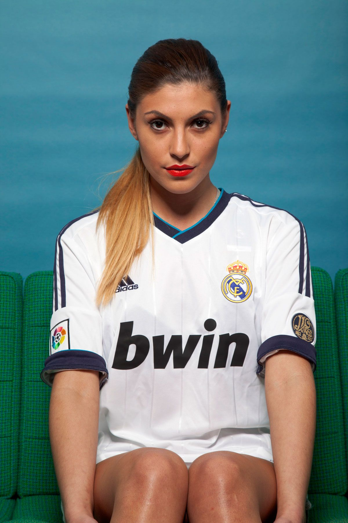 online retailer 1b50d 34a49 Real Madrid girl looking forward wearing the home kit 12/13 ...