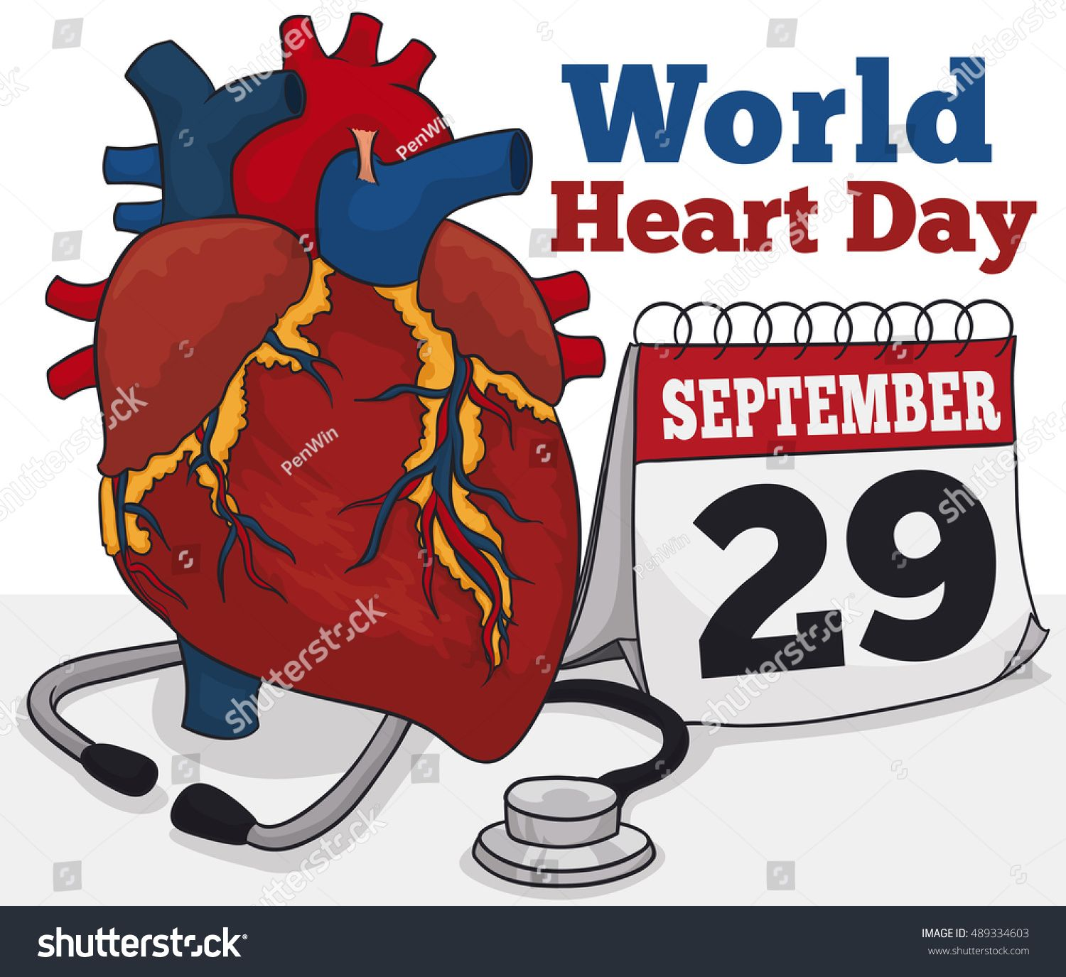 Poster With Realistic Cartoon Poster With A Stethoscope A Loose Leaf Calendar With Reminder Date And Human World Heart Day Realistic Cartoons Cartoon Posters
