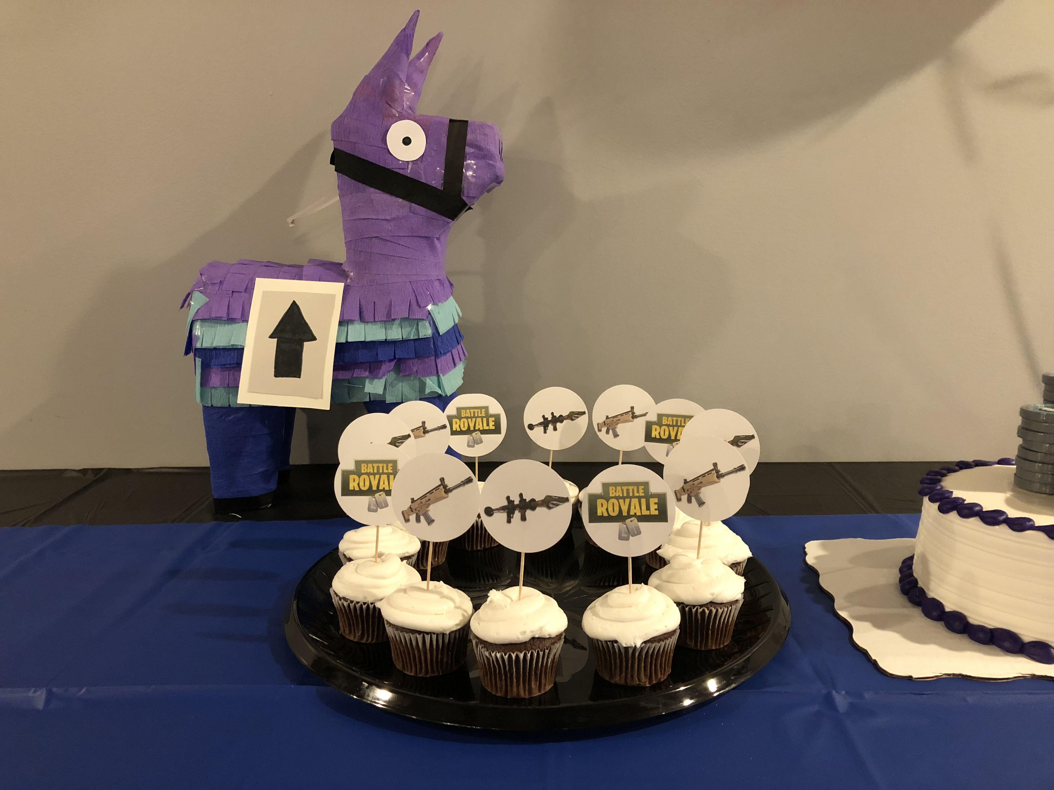 Fortnite llama desserts cake birthday cake
