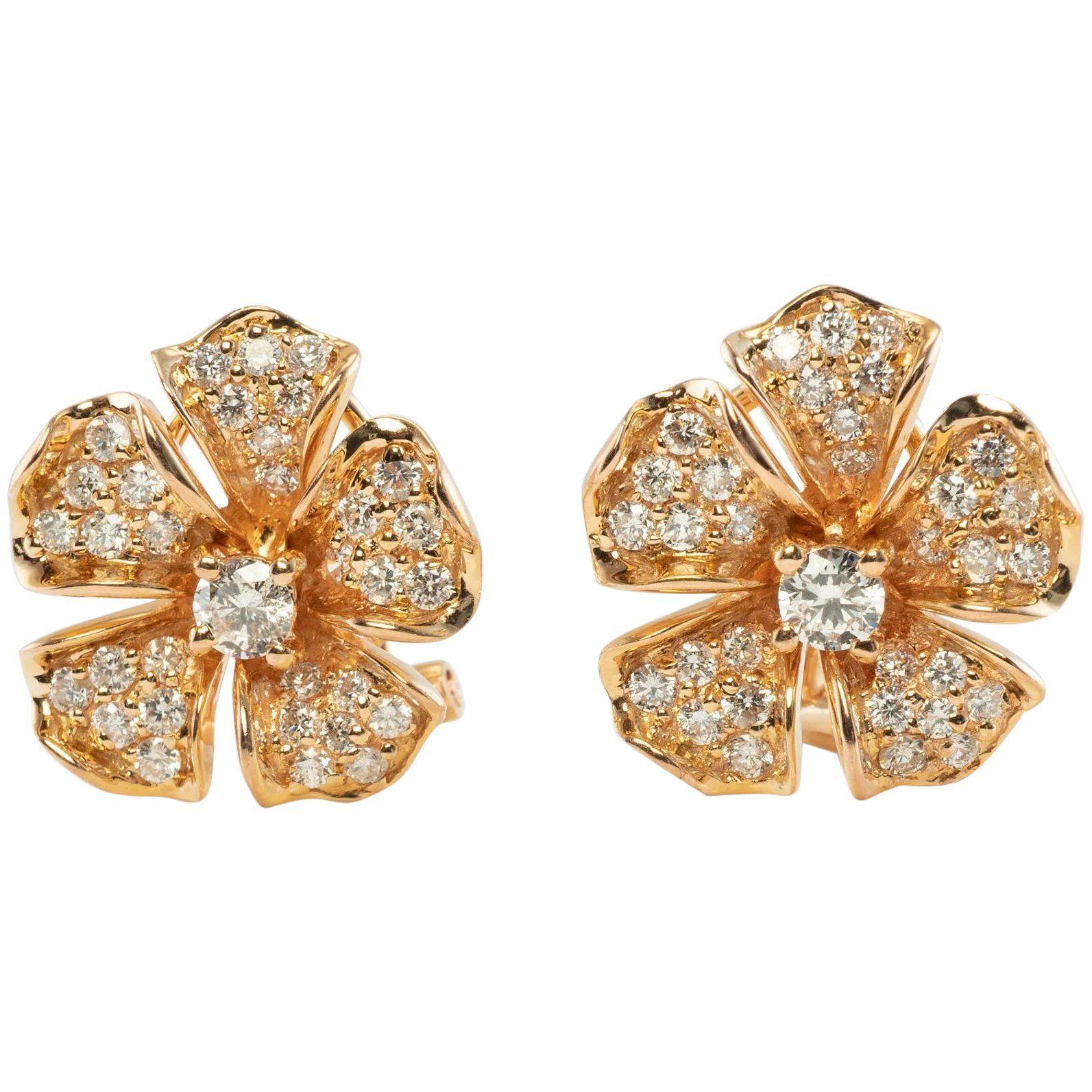 Diamond Flower Earrings 14k Rose Gold Vintage 1 58 Tdw In 2020 Diamond Flower Colored Diamonds Flower Earrings