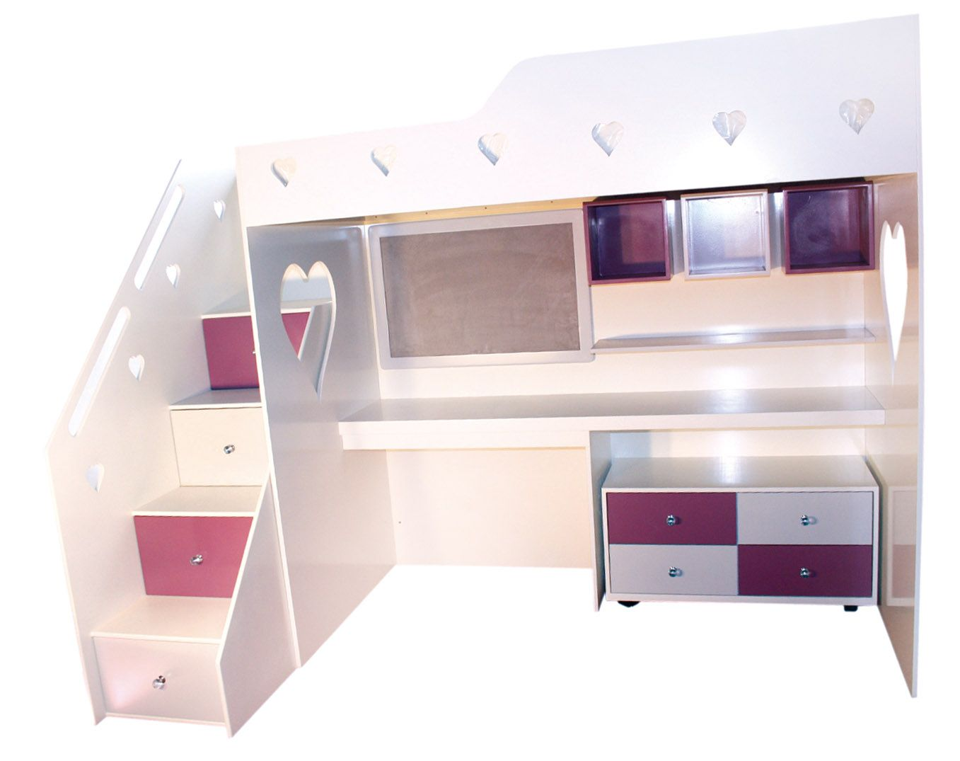Baby bed olx - Heart Loft Bed With Single Top Bed Cubbies Desk Storage Pinboard And