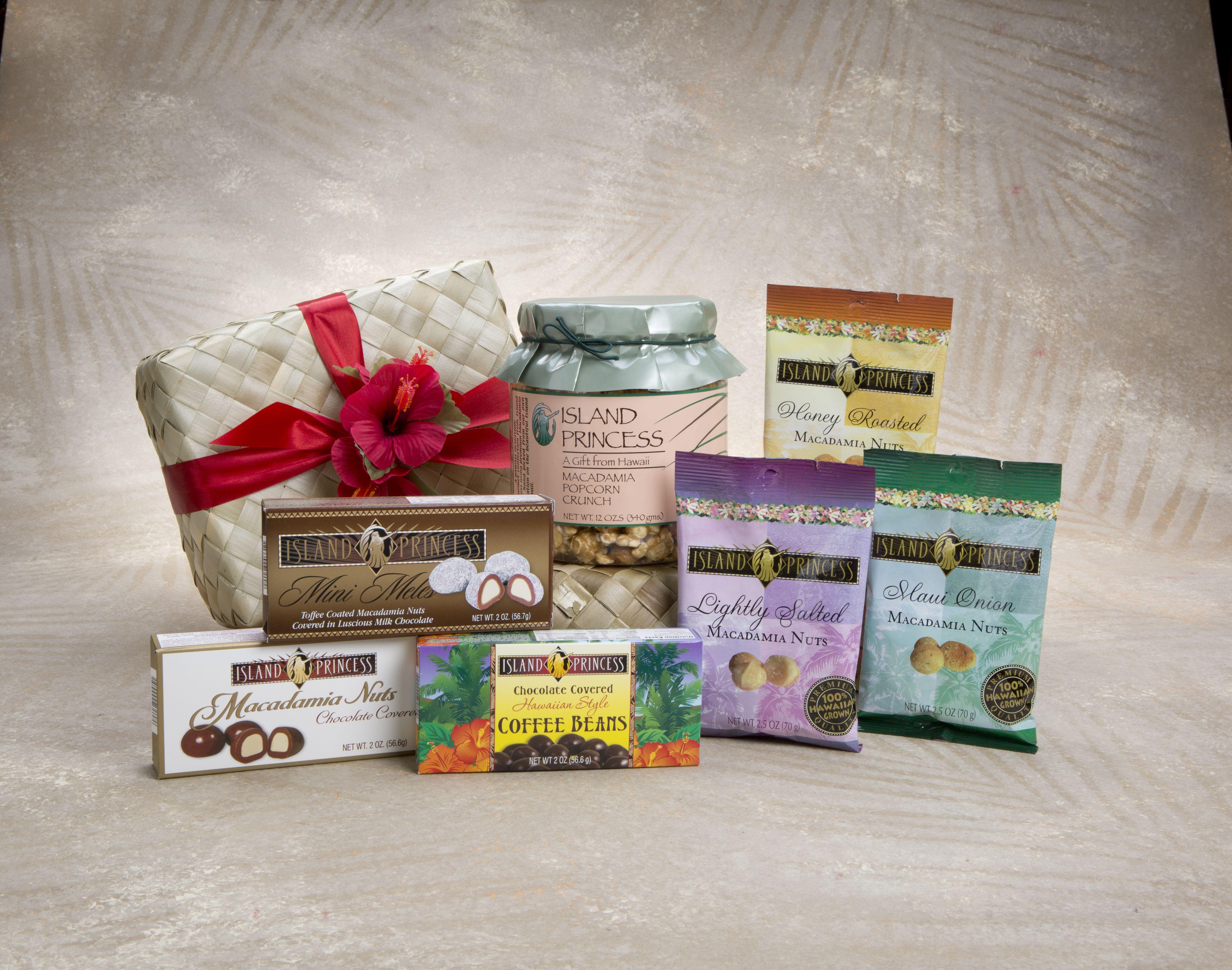 Hawaiian aloha gift basket gourmet selection of seven of