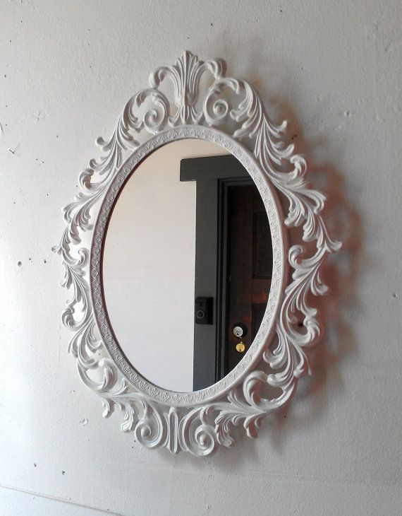 Ornate White Mirror Decorative Vintage Oval Wall Mirrors French Provincial Country Cottage Shabby Chic H White Ornate Mirror Oval Mirror Decor White Mirror