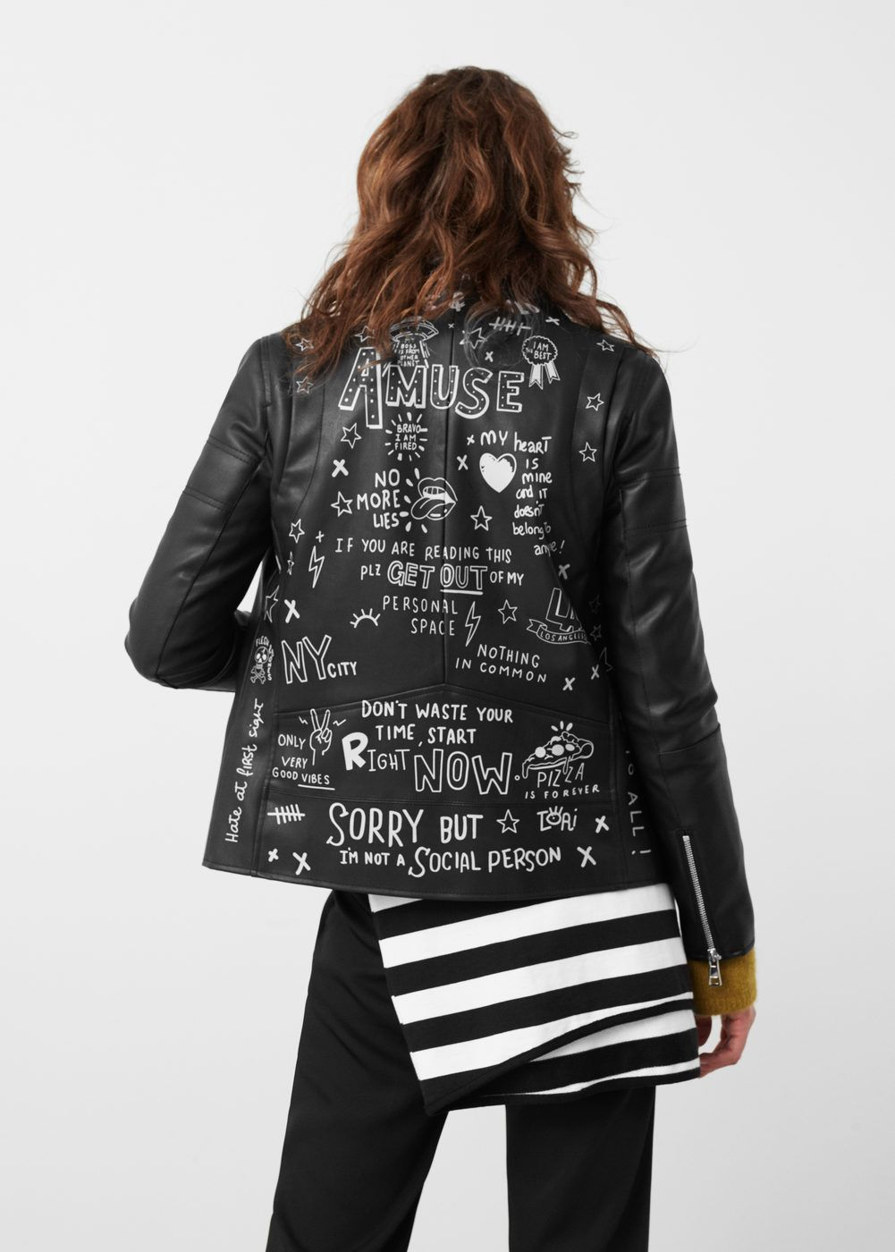 Messages biker jacket in 2020 Painted leather jacket