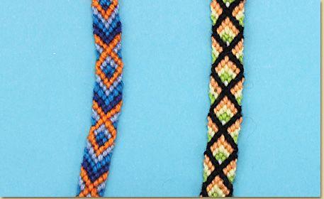 15e05e5a98d81 Friendship Bracelet Pattern: Diamonds or Fish / Diseño de pulsera de ...