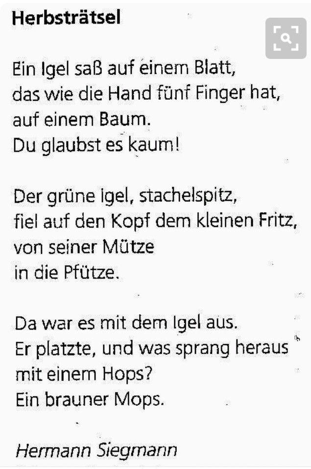 Pin von Ildikó Szabó auf Német nyelv | Pinterest | Gedicht, Kita und ...