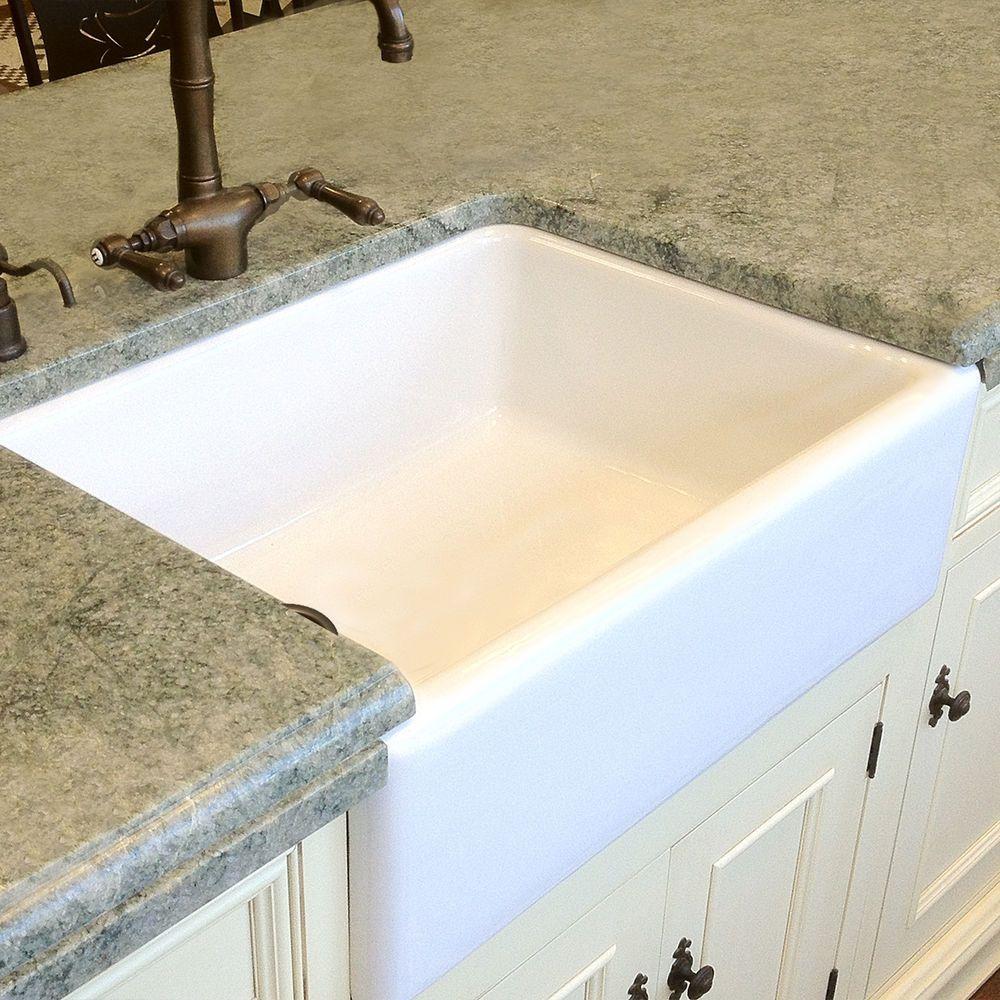 "30"" 30 inch Fireclay Farmhouse Sink Apron WHITE OffSet"
