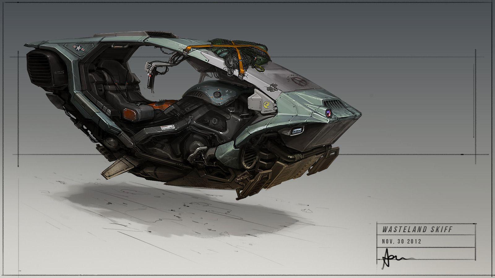 Wasteland Skiff Picture (2d, automotive, antigravity, sci-fi, hover, bike, transport, skiff)