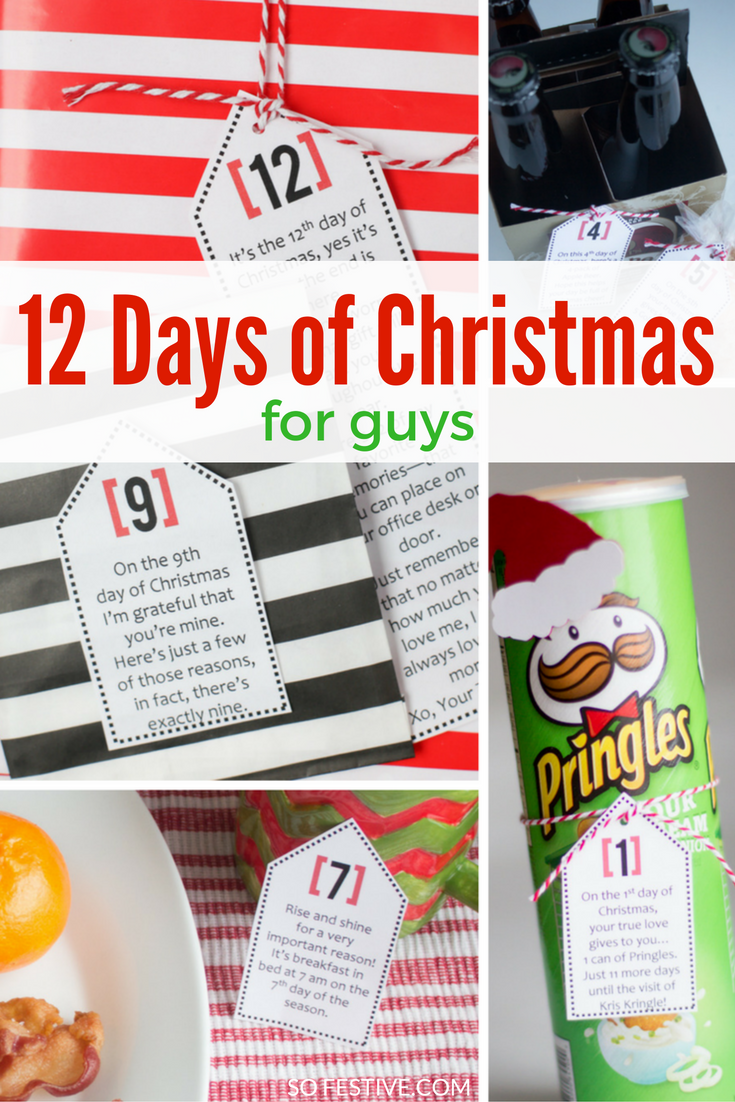 cute 12 days of christmas ideas for guys printable tags with poems and gift ideas