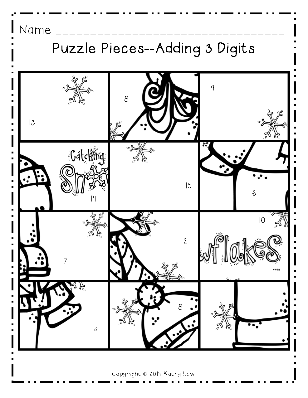Picture Puzzle for practicing adding 3 digits. | First Grade a la ...
