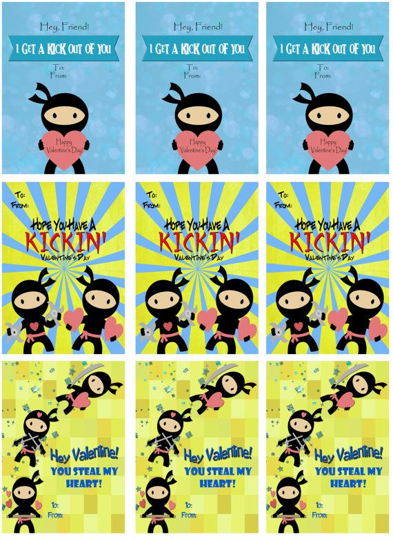 image about Printable Valentines for Kids named Minimal Ninjas, Ninja Young children, Ninja Get pleasure from, Ninja Kick - Fast