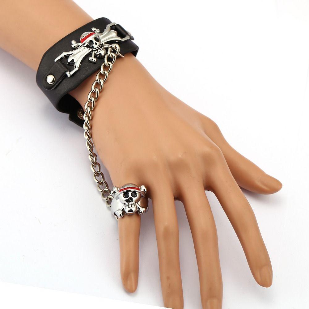 One Piece Leather Bracelet Luffy Link Charm Bracelets Cosplay Punk Bangle Men Women Jewelry Price 10 00 Free S Pricing Jewelry Women Jewelry Punk Jewelry