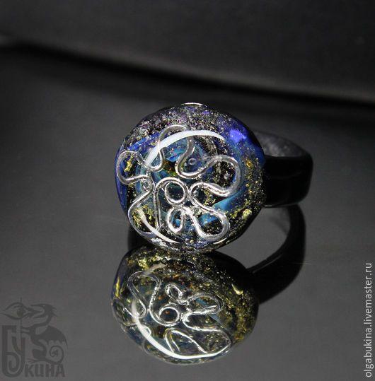 Купить Кольцо из стекла Затонувшее сокровище 2. лэмпворк. 17,5 размер - черный