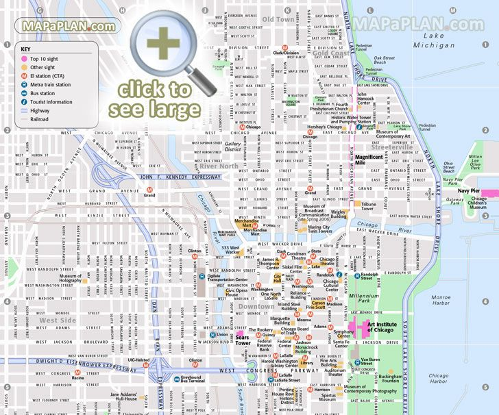 Chicago maps - Top tourist attractions - Free, printable ...