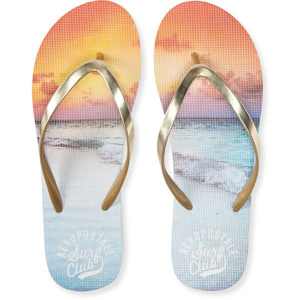 Aero Surf Club Sunset Flip-Flop (84 MXN) ❤ liked on Polyvore featuring shoes, sandals, flip flops, gold, polish shoes, aeropostale sandals, metallic flip flops, metallic gold flip flops and flip flop shoes