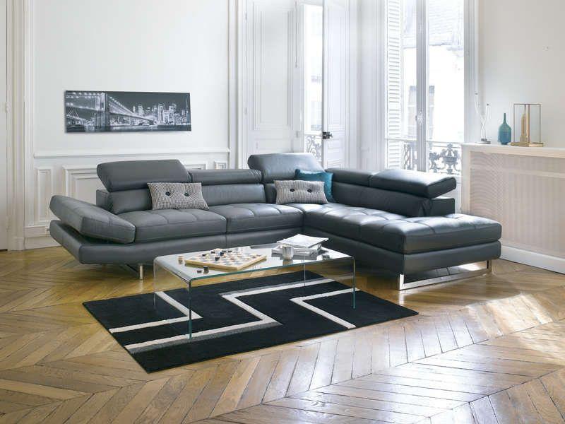 Canap d 39 angle fixe droit en cuir leman coloris gris vente de canap d 39 angle conforama - Canape loft conforama ...