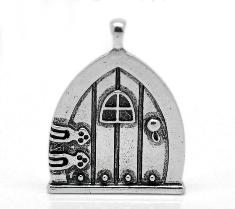 Antiqued Silver Fairy Door Make-A-Wish Locket Pendant