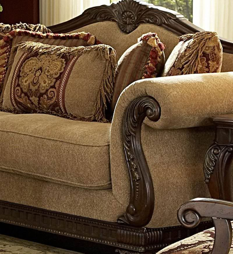 Traditional Chairs For Living Room Traditional Wood Trim Chenille Sofa Couch Set Living