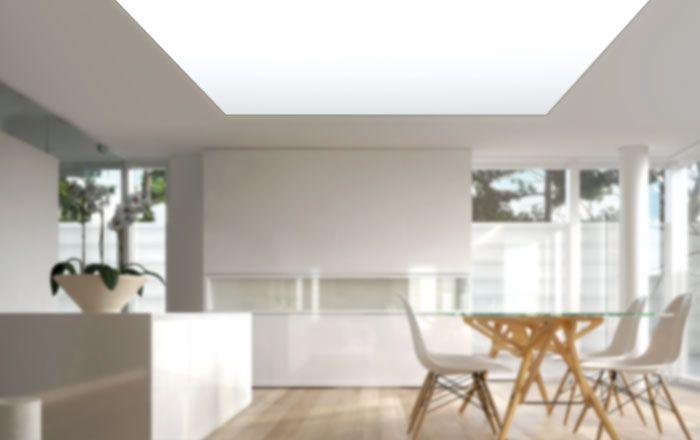 Leuchtkasten für den Deckeneinbau zur homogenen Ausleuchtung großer Flächen. Mit den weißen Deckenlichtern lassen sich Arbeitsplätze sowohl im Büro als auch in der Fertigung optimal ausleuchten. Oder erhellen wir hier ganze Wohnräume. #led#lighting#light#Licht#lux#Wohnideen#home#Wohnzimmer#Beleuchtung