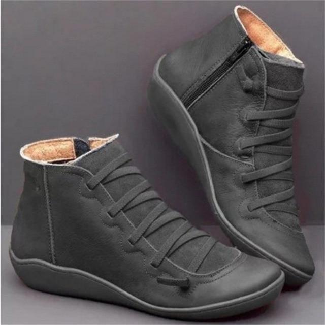Botas de nieve de invierno para mujer Zapatos planos de tobillo primavera – Gris / 39  – Moda