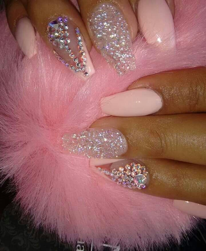 Pretty Pink BLING Coffin Nails - Pretty Pink BLING Coffin Nails *NAILS* Nails, Nail Art, Nail Designs