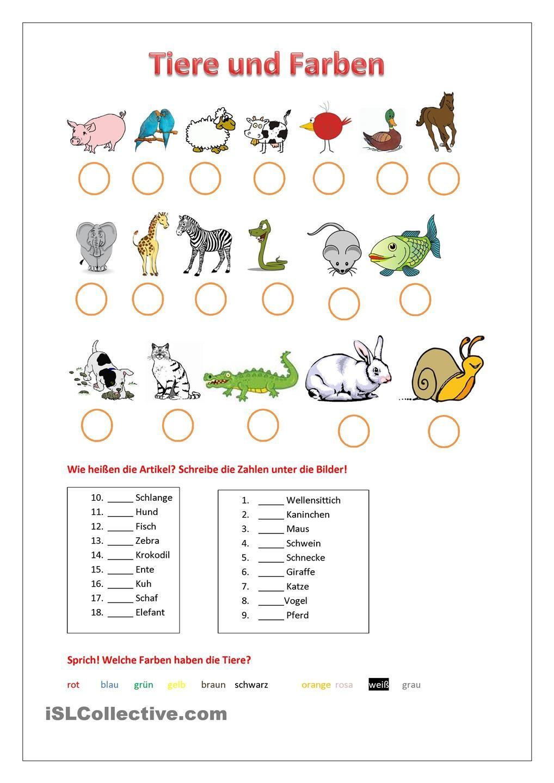 Tiere Arbeitsblatt