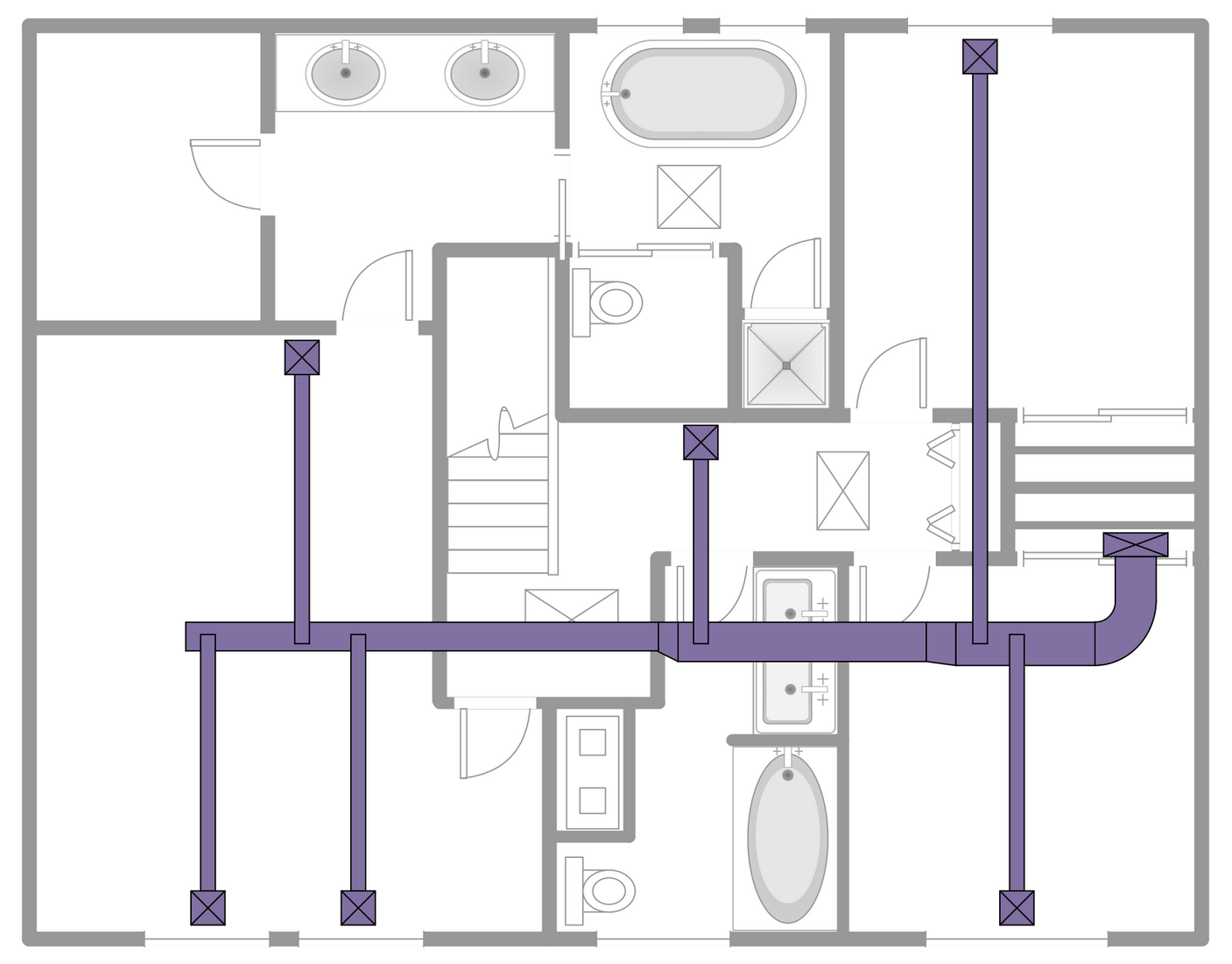 hight resolution of ductwork layout the ducts are ones of the basic elements in a heating ventilation and air conditioning system which are used to deliver and remove the