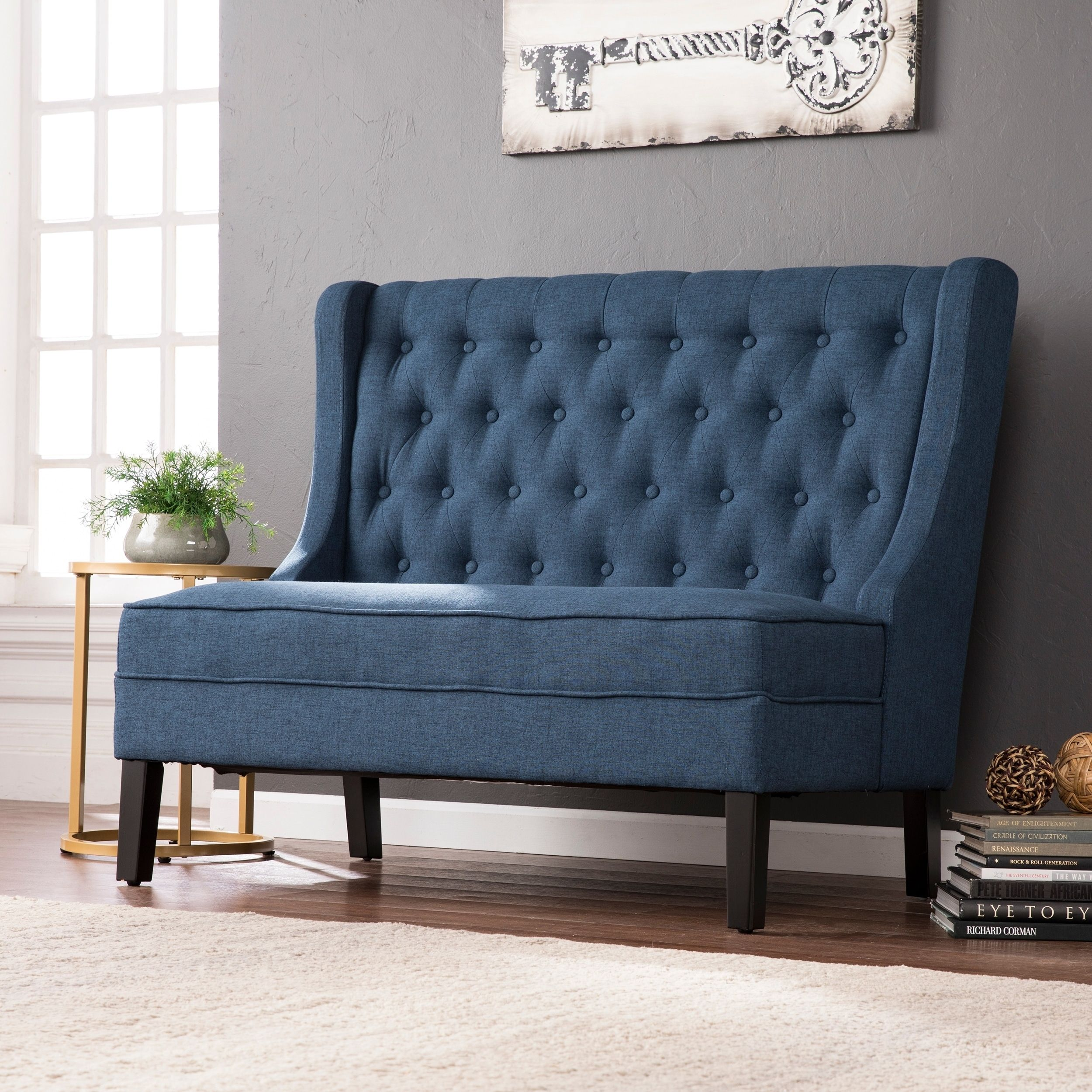 lincoln charcoal high-back tufted settee bench | furniture