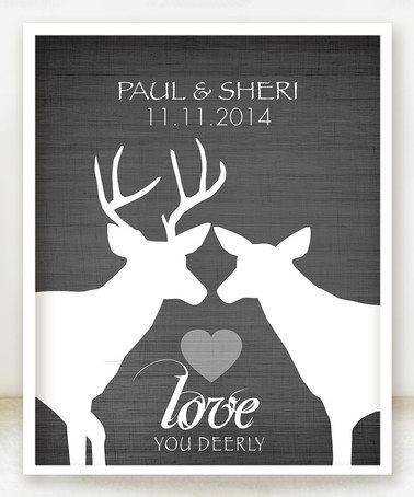 This Charcoal Deer Woodland 'Love' Personalized Print is perfect! #zulilyfinds