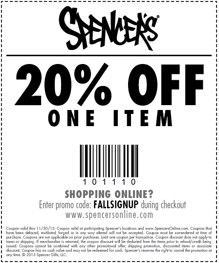 Spencer S Gifts 20 Off Item Printable Coupon Printable Coupons Clothing Coupons Spencers Gifts