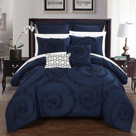 Chic Home 11 Piece Rosamond Floral Ruffled Etched Embroidery Queen Bed In a Bag Comforter Set Navy With sheet set, Blue