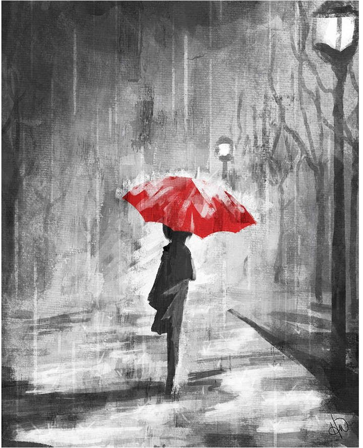 Creative Gallery A Rainy Walk With A Red Umbrella 36 In 2020 Acrylic Wall Art Umbrella Painting Creative Gallery
