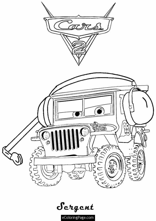 Cars 2 Printable Coloring Pages | Cars 2 Sarge Printable Coloring ...