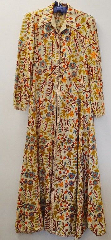 """Early handmade Pa. Dutch embroidered or quilted dress. Similar to a wentke. Toggle button and loop. Measures 58"""". Beautiful condition."""
