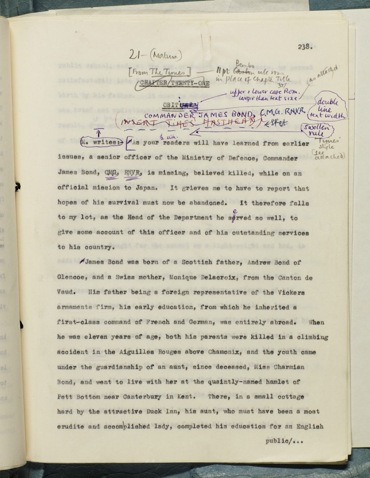 Ian Fleming's final notes on James Bond from the typescript of 'You Only Live Twice'