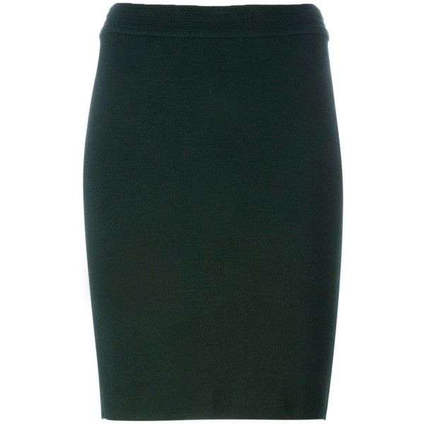 Alaïa Vintage classic pencil skirt (5 060 SEK) ❤ liked on Polyvore featuring skirts, green, high rise pencil skirt, vintage skirts, high-waisted skirts, high waisted knee length skirt and green pencil skirt