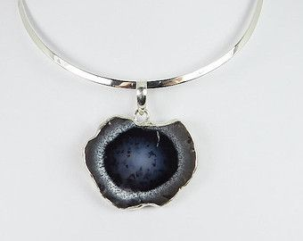 Dendrite Opal Pendant on Sterling Silver Neck Ring, Opal Necklace, Dendritic Opal, Navy Necklace