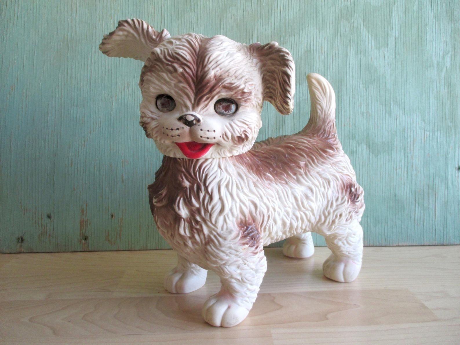 Vintage Edward Mobely Toy Dog 1960s Kitschy Rubber Squeak Toy