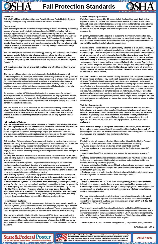 OSHA Fall Protection Standards Factsheet   fall protection