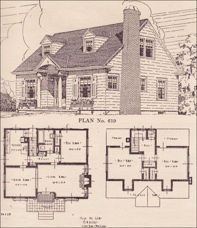 Colonial Revival Cape Cod House Plans The Portland Telegram Plan Book Oregon No 619 Cape Cod House Plans Colonial House Plans Cape Cod House
