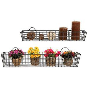 Amazon.com: Set Of 2 Gray Country Rustic Wall Mounted Openwork Metal Wire  Storage