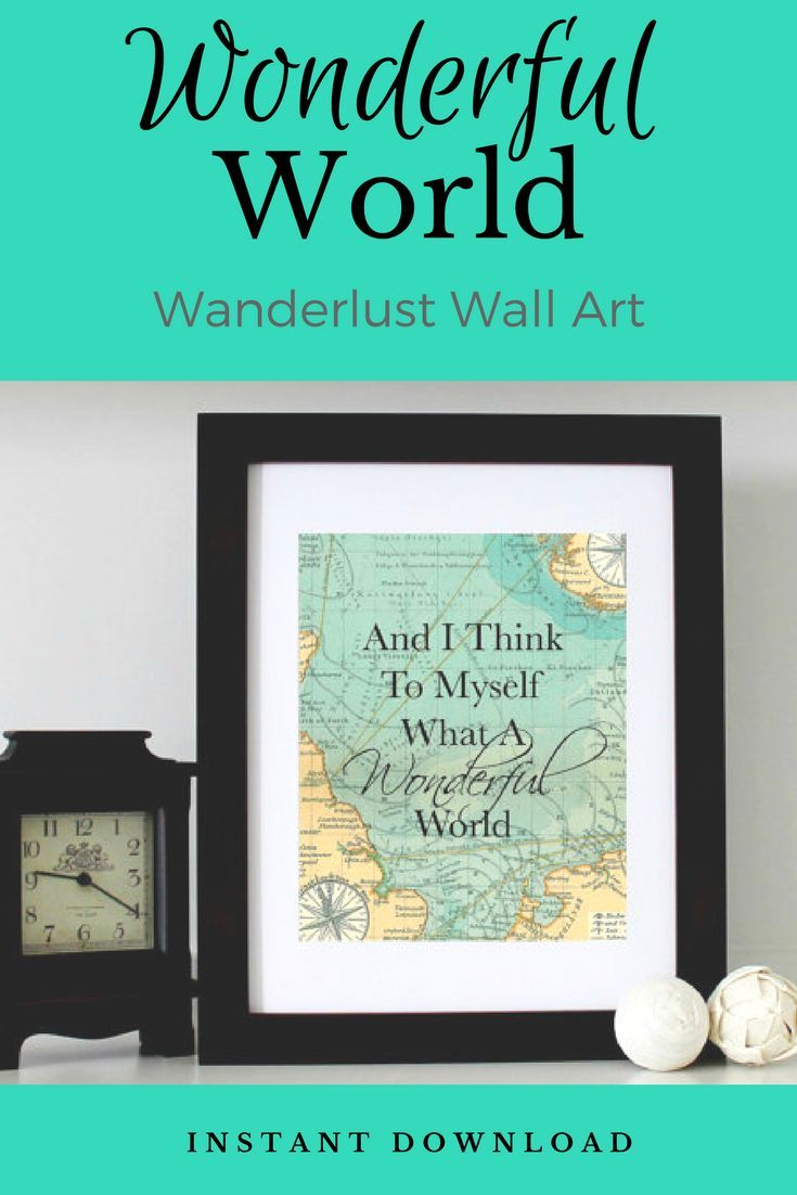 And I Think To Myself What A Wonderful World Map X Printable Wall - 8x10 printable world map