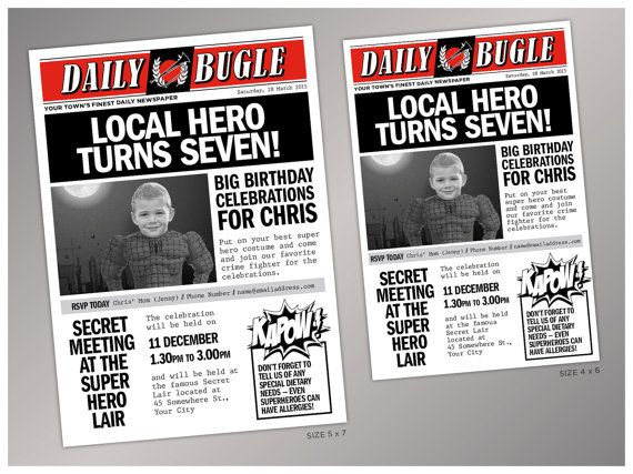 diy superhero newspaper invitation
