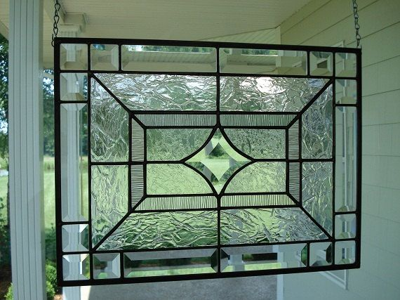 Beveled Star Clear Textures Stained Glass By Theglassshire 89 00 With Images Stained Glass Diy Modern Stained Glass Glass Panels
