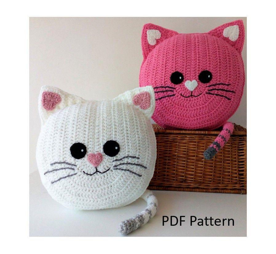 Cat Pillow - Cushion CROCHET PATTERN - crochet patterns for animal pillows - Kids Birthday present - Nursery gift
