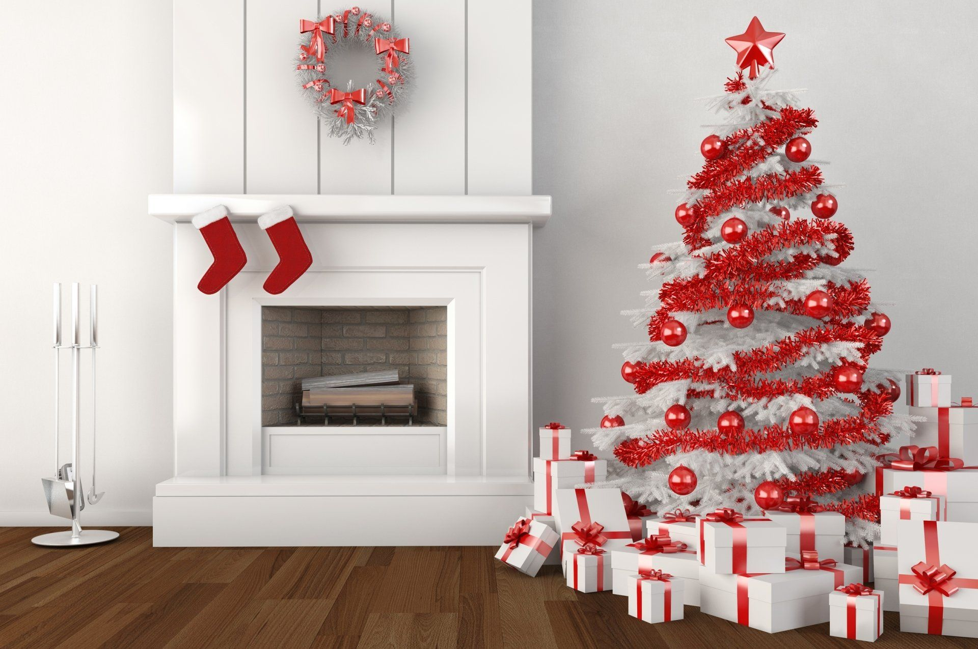 Holiday Christmas Christmas Tree Christmas Ornaments Gift Fireplace Red White Wallpaper White Christmas Trees Christmas Tree With Gifts Christmas Fireplace