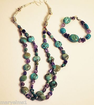 NAVAJO-Sterling-925-Royston-TURQUOISE-AMETHYST-Necklace-Charoite-Multi-Stone-14K